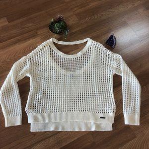 Roxy cream open weave cropped sweater M